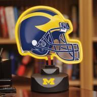 Michigan Wolverines Neon Helmet Desk Lamp