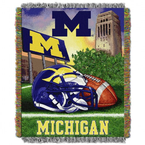 Michigan Wolverines NCAA Woven Tapestry Throw / Blanket