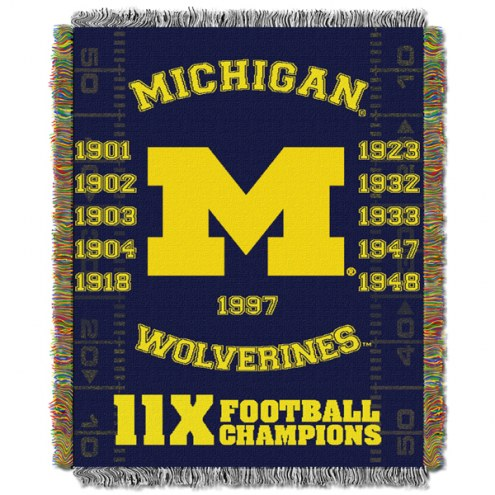 Michigan Wolverines NCAA Woven Tapestry Throw Blanket
