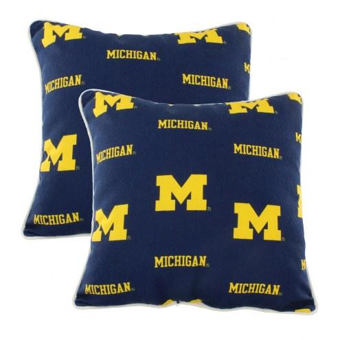 Michigan Wolverines Outdoor Decorative Pillow Set