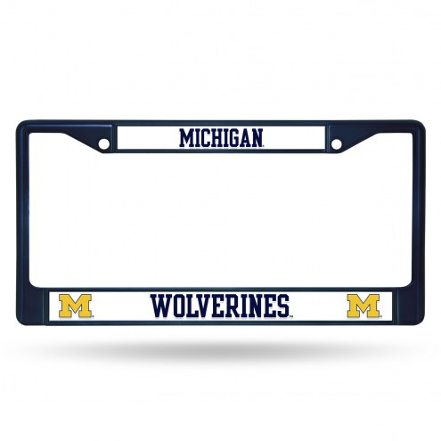 Michigan Wolverines Navy Colored Chrome License Plate Frame