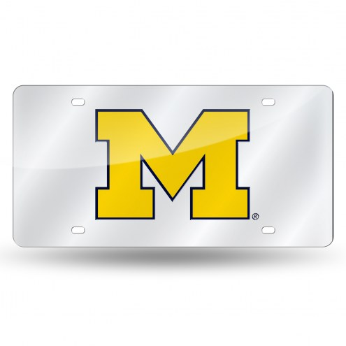 Michigan Wolverines Silver Laser License Plate