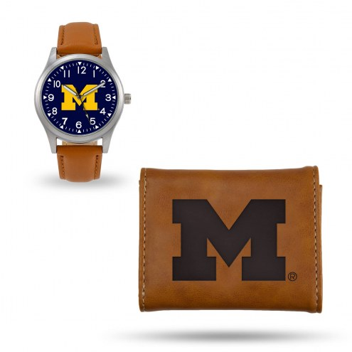 Michigan Wolverines Sparo Brown Watch & Wallet Gift Set