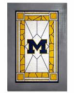 Michigan Wolverines Stained Glass with Frame