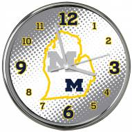 Michigan Wolverines State of Mind Chrome Clock