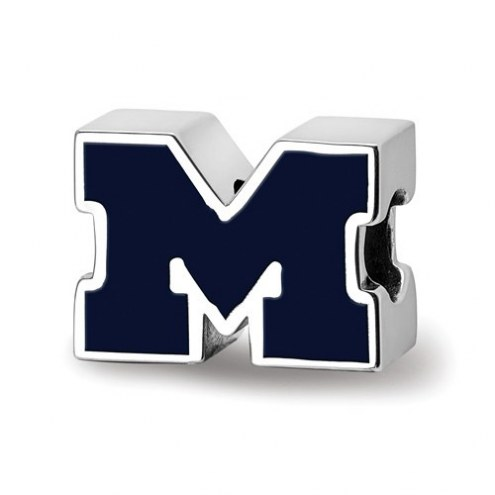 Michigan Wolverines Sterling Silver Enameled Bead