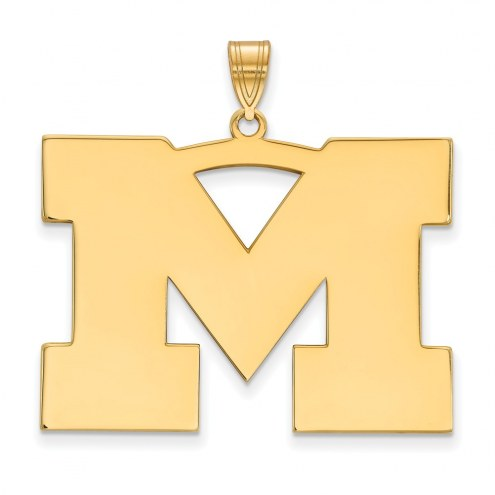 Michigan Wolverines Sterling Silver Gold Plated Extra Large Pendant