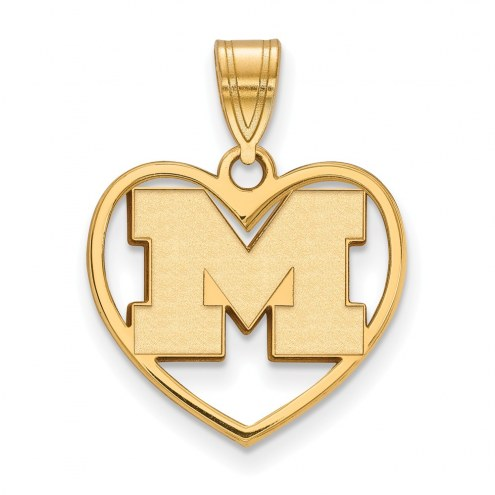 Michigan Wolverines Sterling Silver Gold Plated Heart Pendant