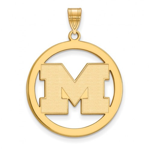 Michigan Wolverines Sterling Silver Gold Plated Large Circle Pendant
