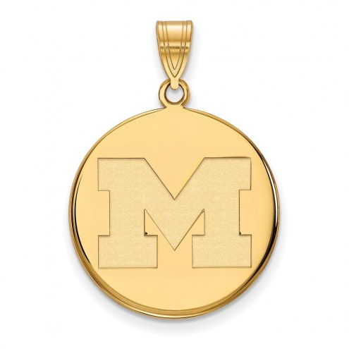 Michigan Wolverines Sterling Silver Gold Plated Large Disc Pendant