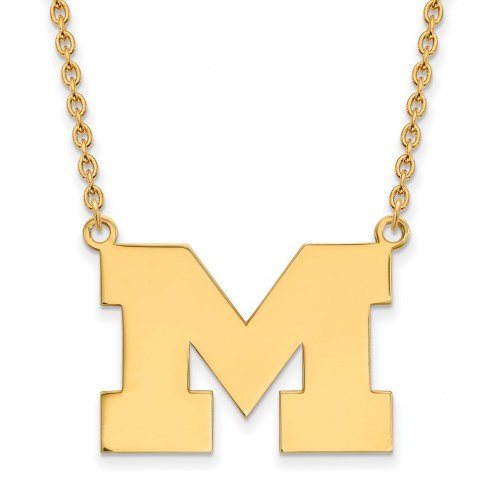 Michigan Wolverines Sterling Silver Gold Plated Large Pendant Necklace