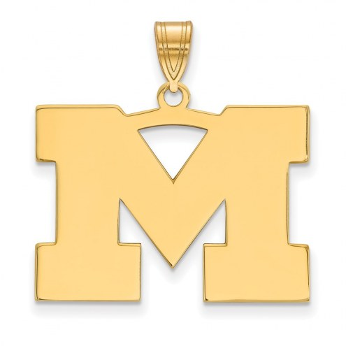 Michigan Wolverines Sterling Silver Gold Plated Large Pendant