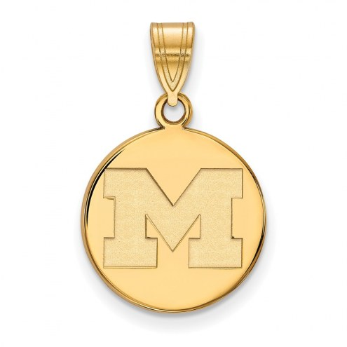 Michigan Wolverines Sterling Silver Gold Plated Medium Disc Pendant