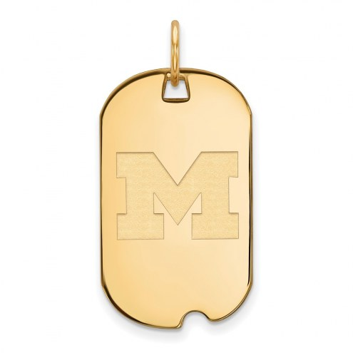 Michigan Wolverines Sterling Silver Gold Plated Small Dog Tag