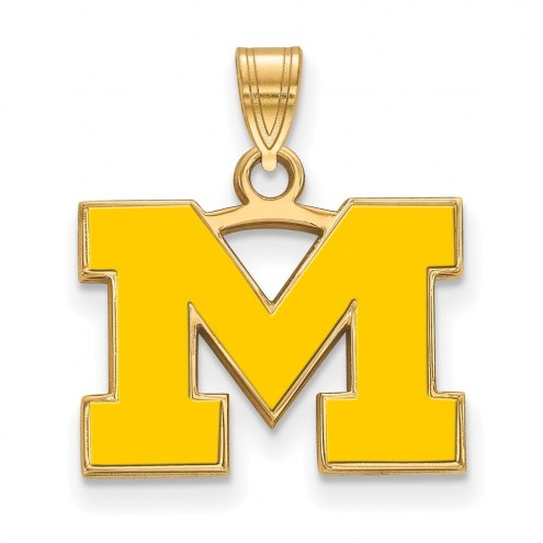 Michigan Wolverines Sterling Silver Gold Plated Small Enameled Pendant