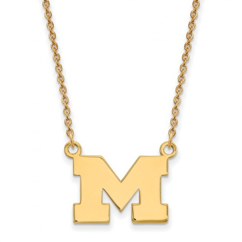 Michigan Wolverines Sterling Silver Gold Plated Small Pendant Necklace