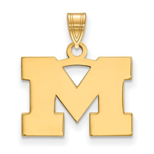 Michigan Wolverines Sterling Silver Gold Plated Small Pendant