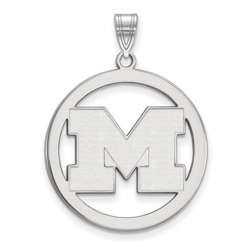 Michigan Wolverines Sterling Silver Large Circle Pendant