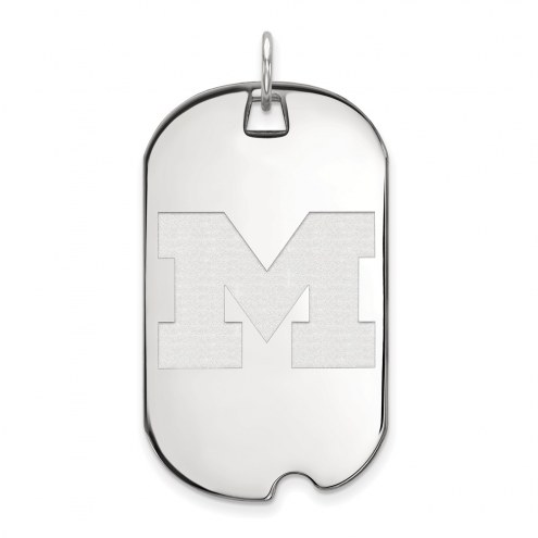 Michigan Wolverines Sterling Silver Large Dog Tag