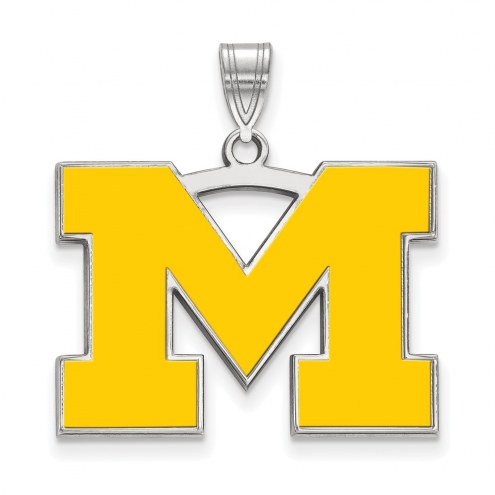 Michigan Wolverines Sterling Silver Large Enameled Pendant