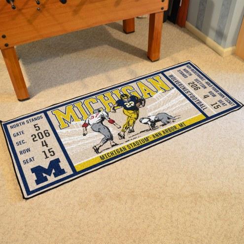 Michigan Wolverines Ticket Runner Rug