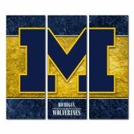 Michigan Wolverines Triptych Double Border Canvas Wall Art