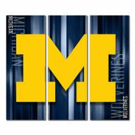 Michigan Wolverines Triptych Rush Canvas Wall Art