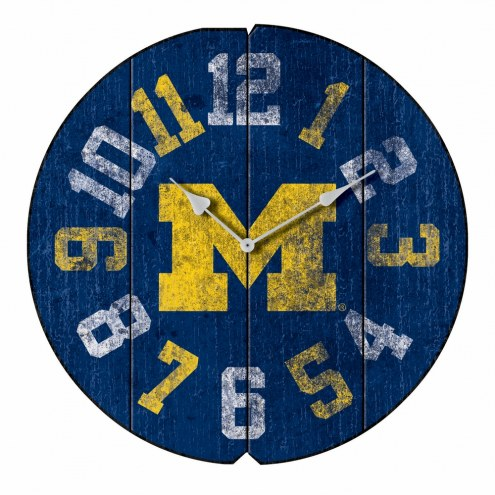 Michigan Wolverines Vintage Round Clock