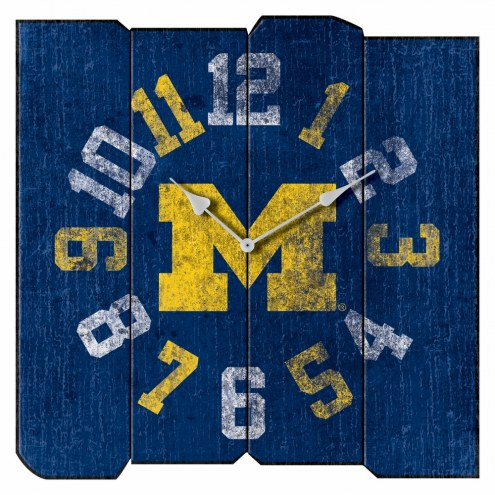 Michigan Wolverines Vintage Square Clock