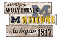 Michigan Wolverines Welcome 3 Plank Sign