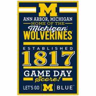 Michigan Wolverines Established Wood Sign