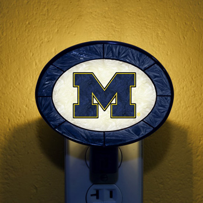 Michigan Wolverines NCAA Stained Glass Night Light