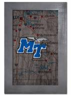 "Middle Tennessee State Blue Raiders 11"" x 19"" City Map Framed Sign"