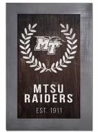 """Middle Tennessee State Blue Raiders 11"""" x 19"""" Laurel Wreath Framed Sign"""