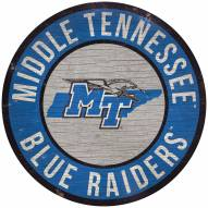 "Middle Tennessee State Blue Raiders 12"" Circle with State Sign"