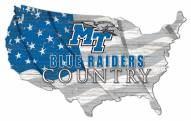 "Middle Tennessee State Blue Raiders 15"" USA Flag Cutout Sign"