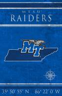 "Middle Tennessee State Blue Raiders 17"" x 26"" Coordinates Sign"