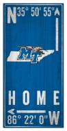 "Middle Tennessee State Blue Raiders 6"" x 12"" Coordinates Sign"