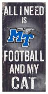 "Middle Tennessee State Blue Raiders 6"" x 12"" Football & My Cat Sign"