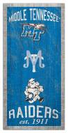 """Middle Tennessee State Blue Raiders 6"""" x 12"""" Heritage Sign"""