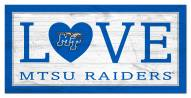 "Middle Tennessee State Blue Raiders 6"" x 12"" Love Sign"