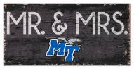 "Middle Tennessee State Blue Raiders 6"" x 12"" Mr. & Mrs. Sign"