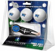 Middle Tennessee State Blue Raiders Black Crosshair Divot Tool & 3 Golf Ball Gift Pack