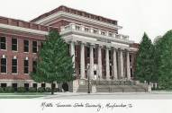 Middle Tennessee State Blue Raiders Campus Images Lithograph