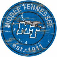 Middle Tennessee State Blue Raiders Distressed Round Sign