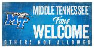 Middle Tennessee State Blue Raiders Fans Welcome Sign