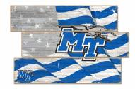 Middle Tennessee State Blue Raiders Flag 3 Plank Sign