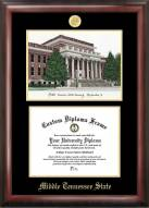Middle Tennessee State Blue Raiders Gold Embossed Diploma Frame with Campus Images Lithograph