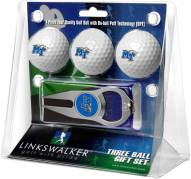 Middle Tennessee State Blue Raiders Golf Ball Gift Pack with Hat Trick Divot Tool