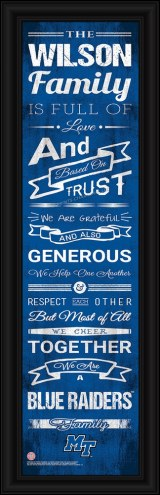 Middle Tennessee State Blue Raiders Personalized Family Cheer Framed Art